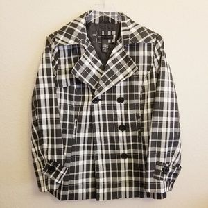 New York & Company Black/White Plaid Rain Coat